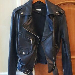 Aqua Genuine Leather Motorcycle Jacket